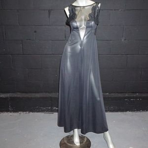 vintage black full sweep gown illusion inserts